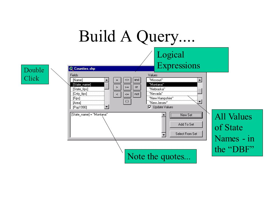 Build A Query.... Note the quotes...