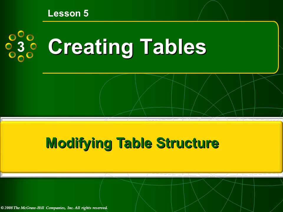 © 2008 The McGraw-Hill Companies, Inc. All rights reserved. M I C R O S O F T ® Creating Tables Lesson 5 Modifying Table Structure 3