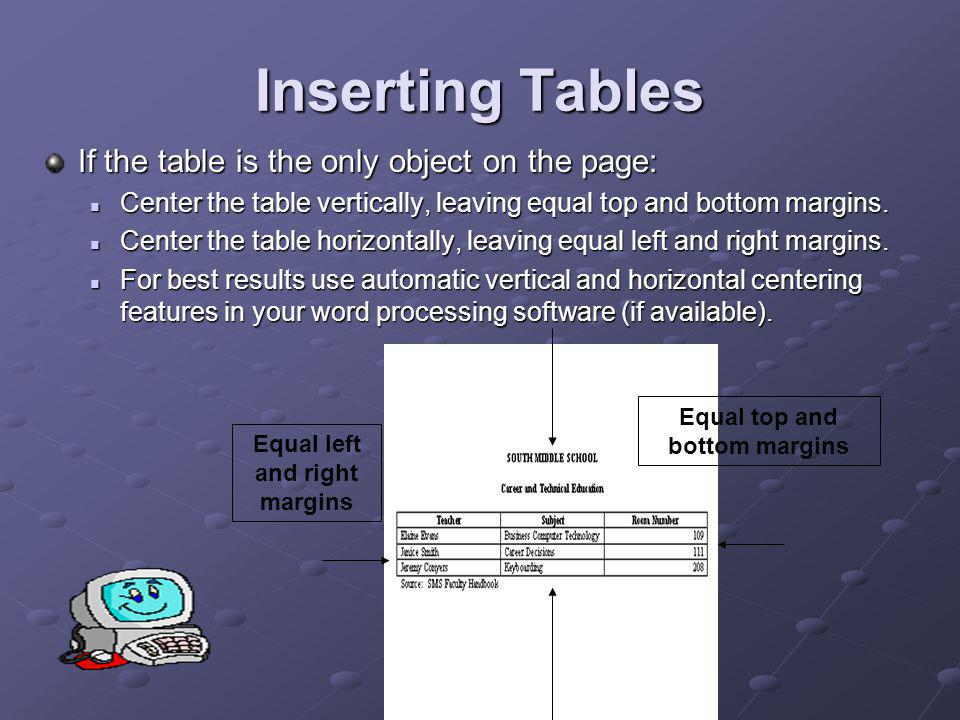 Inserting Tables DS If the table is inserted between text: Double space above and below the table.
