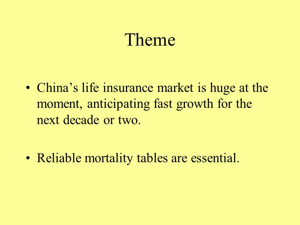 Theme Chinas life insurance market is huge at the moment, anticipating fast growth for the next decade or two.