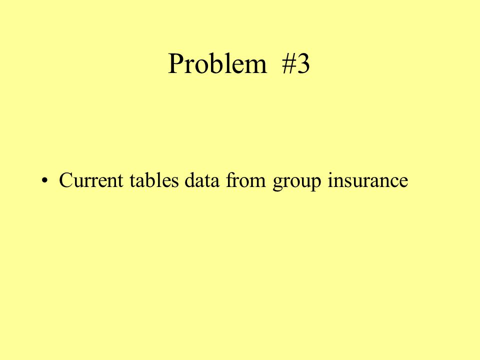 Problem #3 Current tables data from group insurance