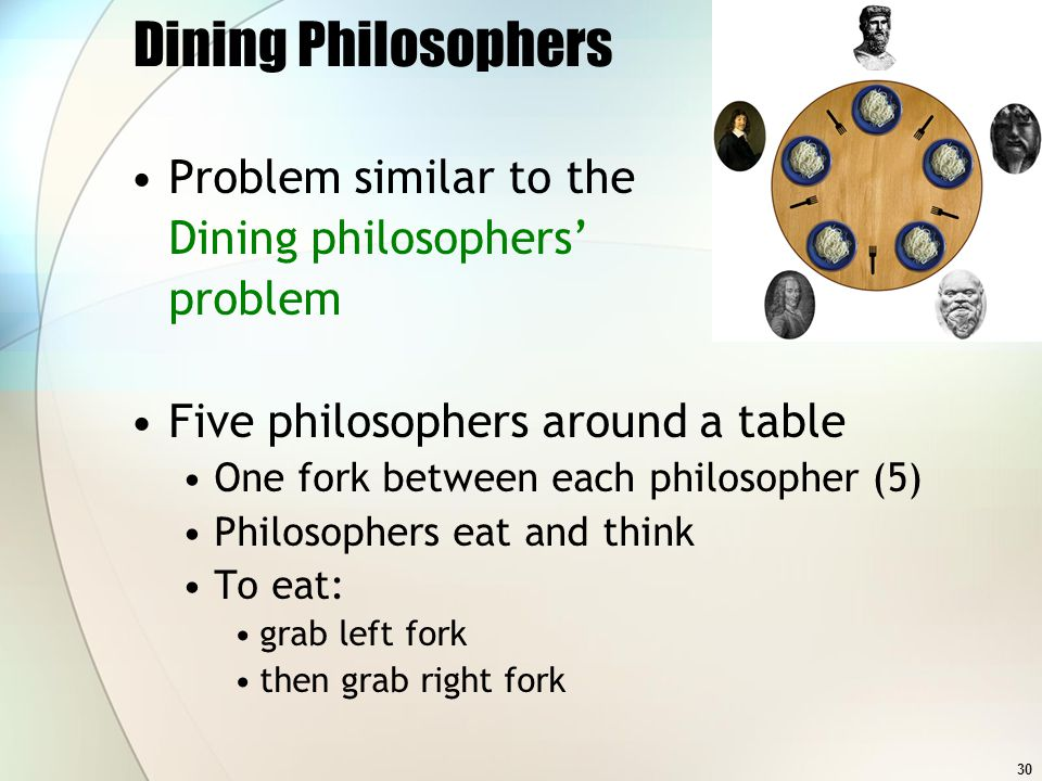 30 Dining Philosophers Problem similar to the Dining philosophers problem Five philosophers around a table One fork between each philosopher (5) Philo