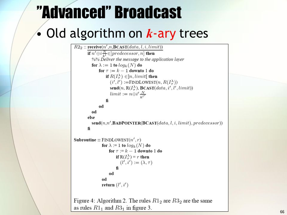 66 Advanced Broadcast Old algorithm on k -ary trees