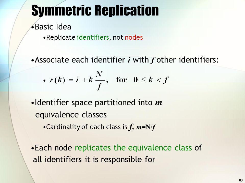 83 Symmetric Replication Basic Idea Replicate identifiers, not nodes Associate each identifier i with f other identifiers: Identifier space partitione