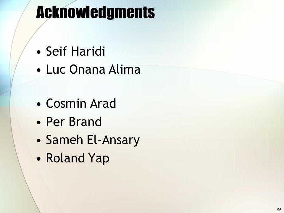 96 Acknowledgments Seif Haridi Luc Onana Alima Cosmin Arad Per Brand Sameh El-Ansary Roland Yap