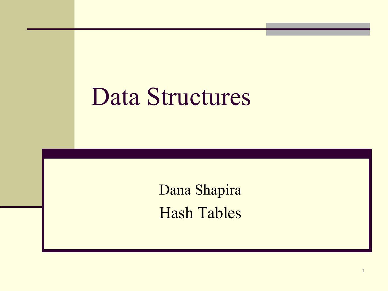 1 Data Structures Dana Shapira Hash Tables