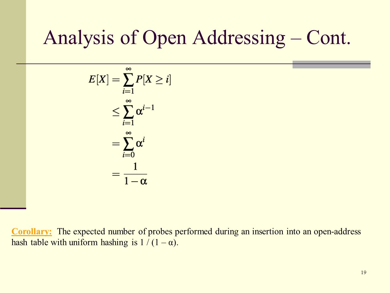 19 Corollary: The expected number of probes performed during an insertion into an open-address hash table with uniform hashing is 1 / (1 – α).
