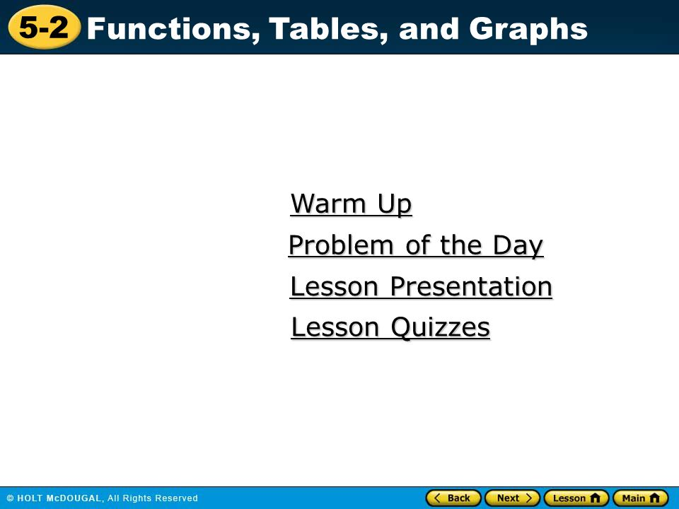 5-2 Functions, Tables, and Graphs Warm Up Warm Up Lesson Presentation Lesson Presentation Problem of the Day Problem of the Day Lesson Quizzes Lesson