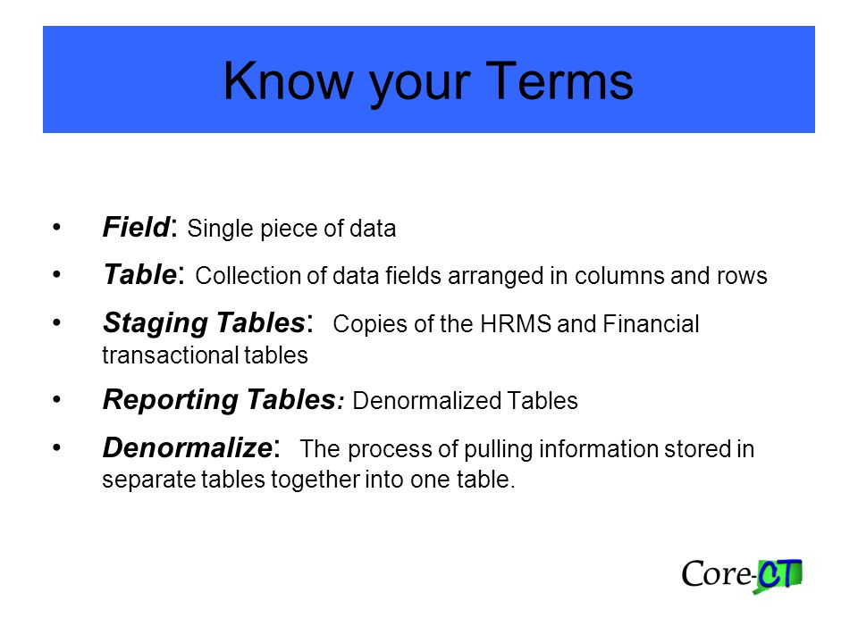 Know your Terms Field : Single piece of data Table : Collection of data fields arranged in columns and rows Staging Tables : Copies of the HRMS and Financial transactional tables Reporting Tables : Denormalized Tables Denormalize : The process of pulling information stored in separate tables together into one table.