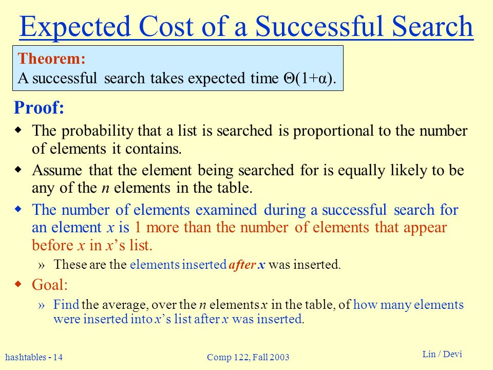hashtables - 14 Lin / Devi Comp 122, Fall 2003 Expected Cost of a Successful Search Proof: The probability that a list is searched is proportional to