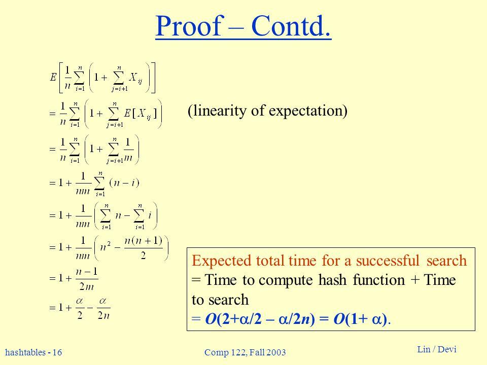 hashtables - 16 Lin / Devi Comp 122, Fall 2003 Proof – Contd.