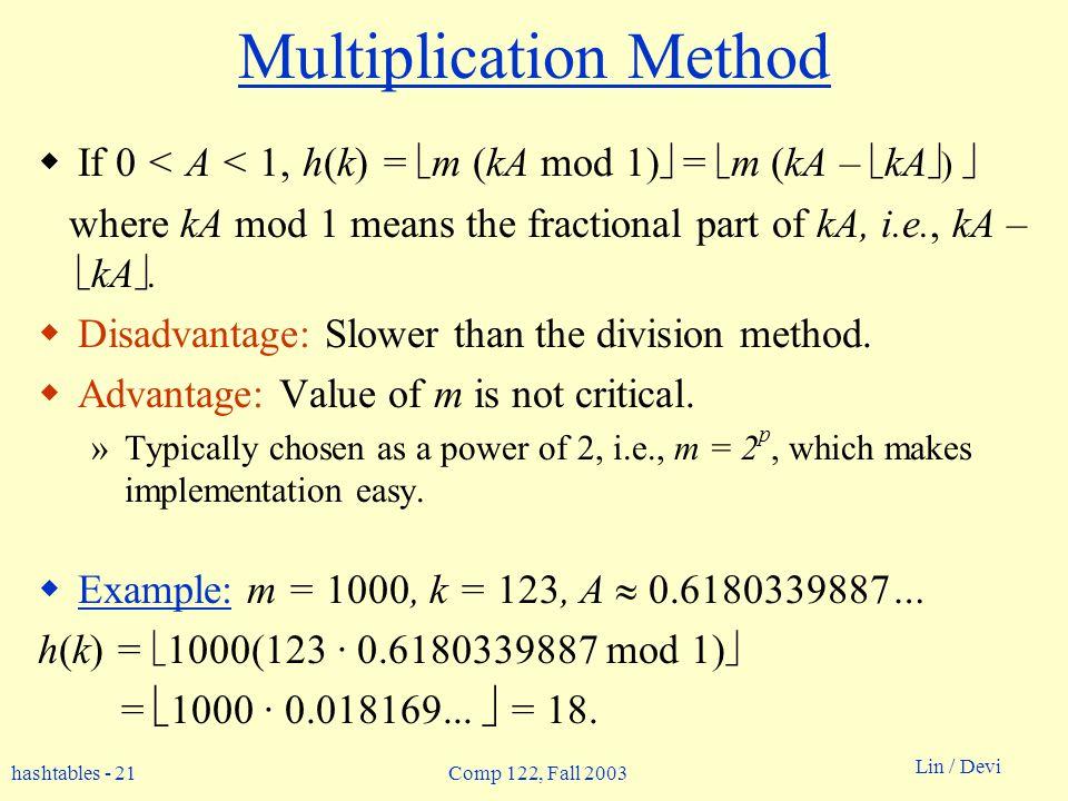 hashtables - 21 Lin / Devi Comp 122, Fall 2003 Multiplication Method If 0 < A < 1, h(k) = m (kA mod 1) = m (kA – kA ) where kA mod 1 means the fractional part of kA, i.e., kA – kA.