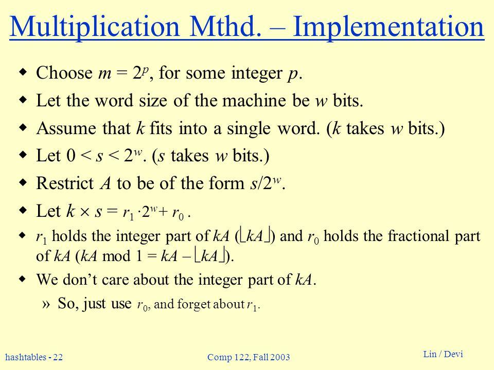 hashtables - 22 Lin / Devi Comp 122, Fall 2003 Multiplication Mthd.