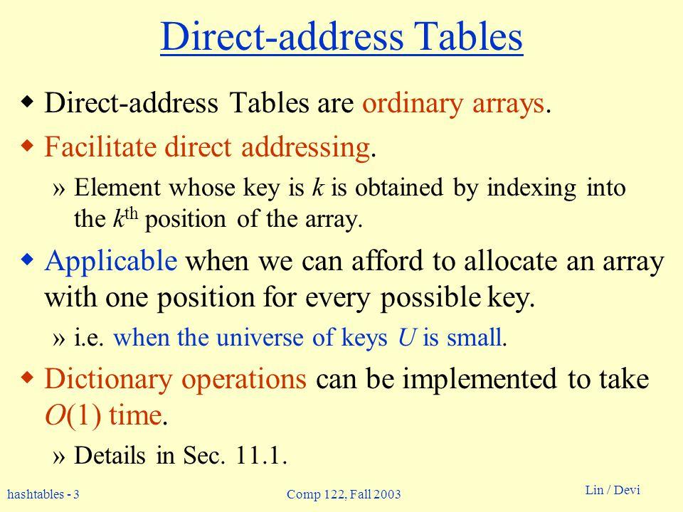 hashtables - 3 Lin / Devi Comp 122, Fall 2003 Direct-address Tables Direct-address Tables are ordinary arrays. Facilitate direct addressing. »Element