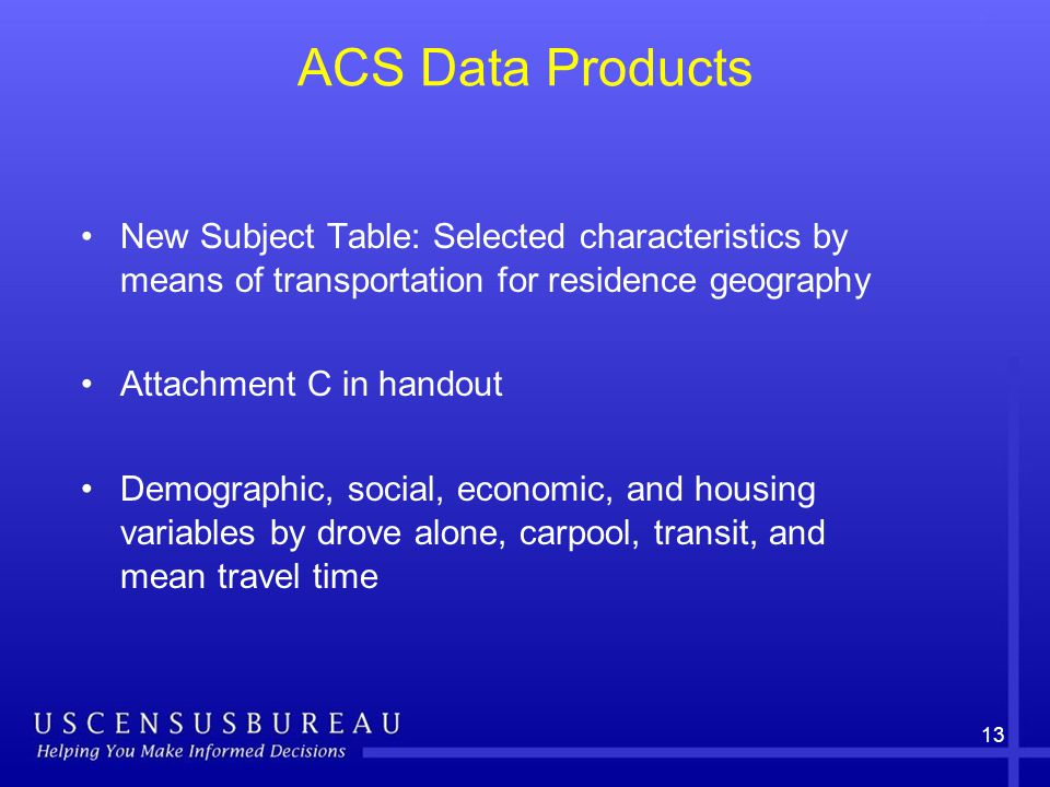 13 ACS Data Products New Subject Table: Selected characteristics by means of transportation for residence geography Attachment C in handout Demographic, social, economic, and housing variables by drove alone, carpool, transit, and mean travel time