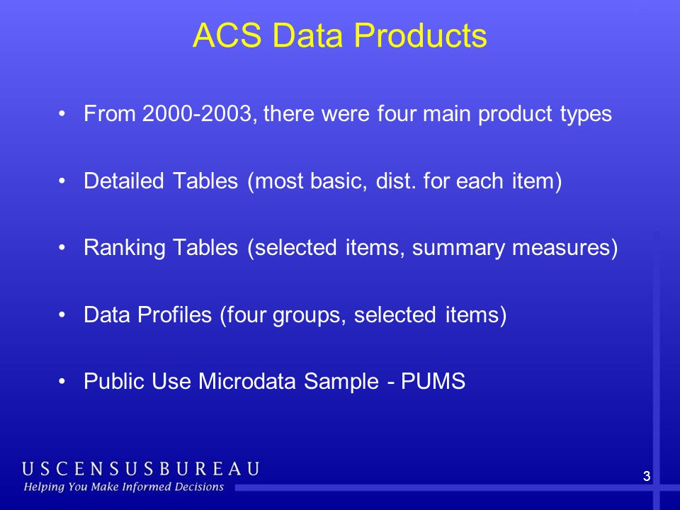 3 ACS Data Products From , there were four main product types Detailed Tables (most basic, dist.