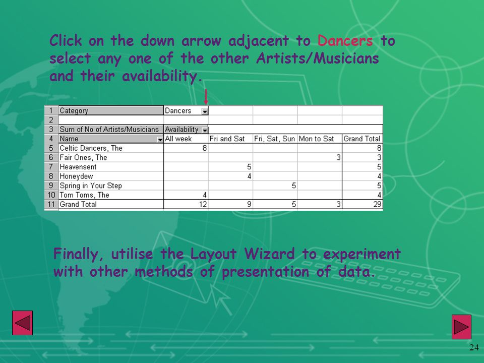 24 Click on the down arrow adjacent to Dancers to select any one of the other Artists/Musicians and their availability. Finally, utilise the Layout Wi