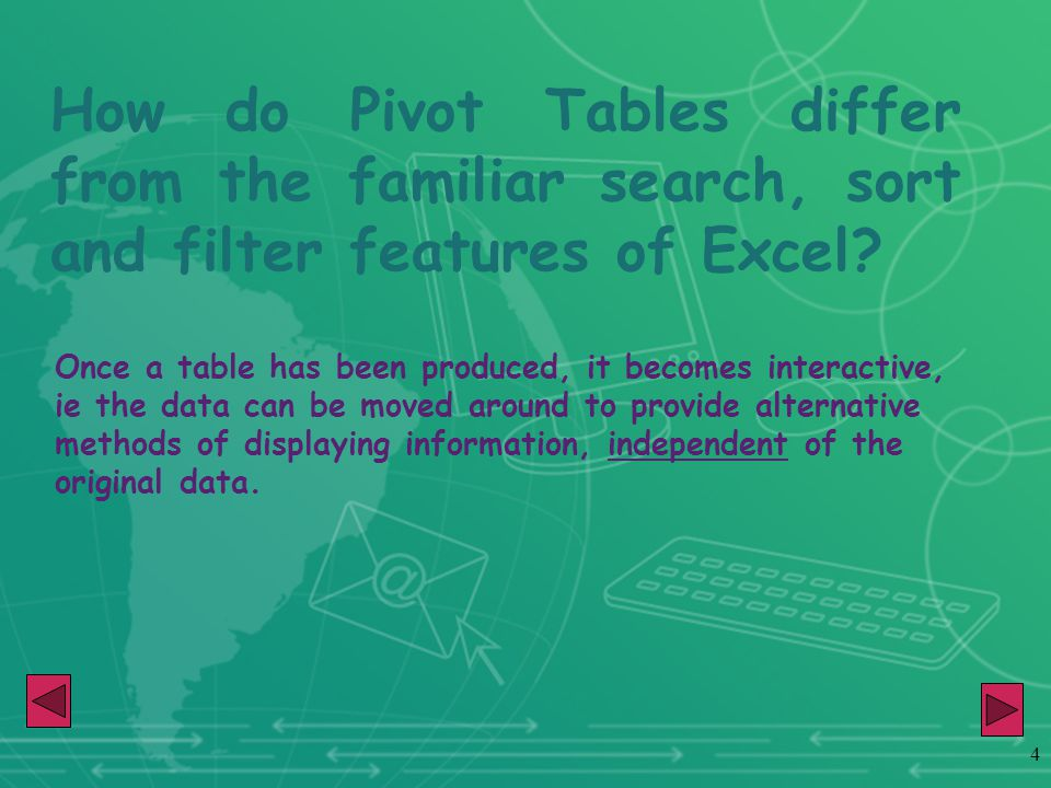 4 How do Pivot Tables differ from the familiar search, sort and filter features of Excel.
