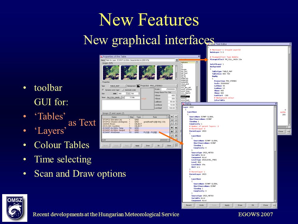Recent developments at the Hungarian Meteorological ServiceEGOWS 2007 New Features toolbar GUI for: Tables Layers Colour Tables Time selecting Scan and Draw options New graphical interfaces as Text