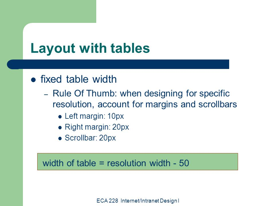 ECA 228 Internet/Intranet Design I Effective tables indent - write code that is easy to read 1st quarter 2nd quarter 3rd quarter 4th quarter