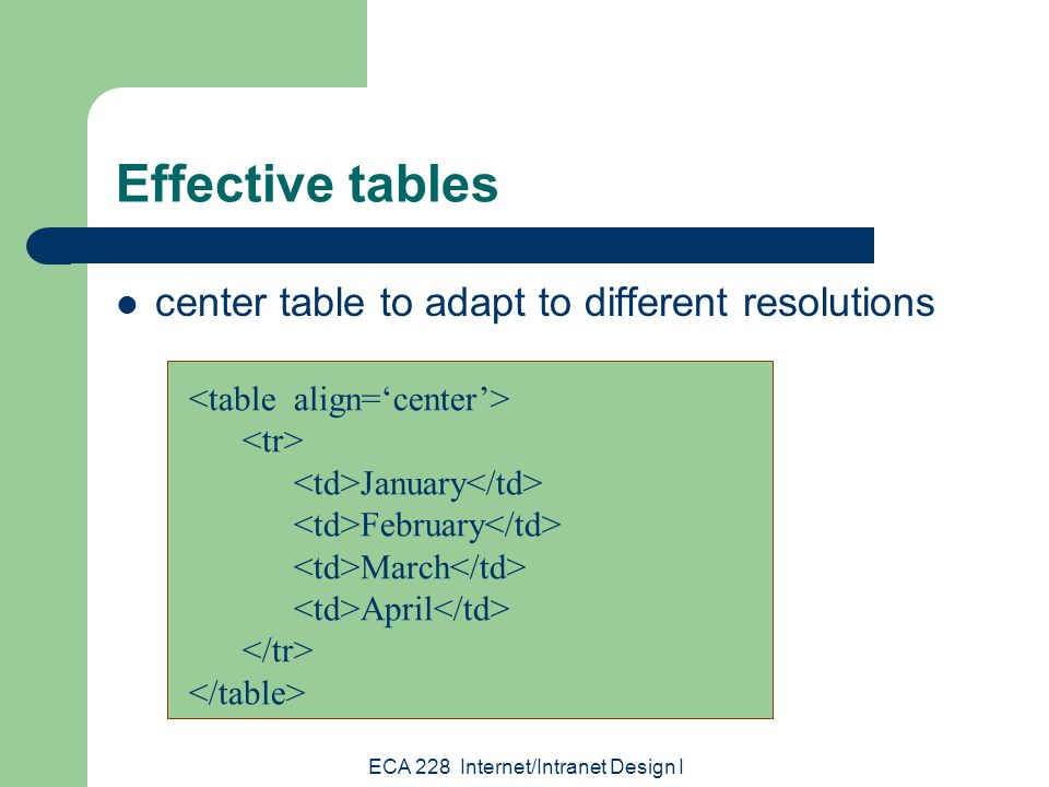 ECA 228 Internet/Intranet Design I Effective tables stack tables for quicker downloading – browsers must read all table code before displaying table – long tables may increase download time – use several small tables instead of one large table