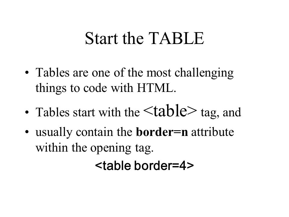 Coding the Table What are tables used for? Tables are used to make data easier to interpret or to just give your document more impact.