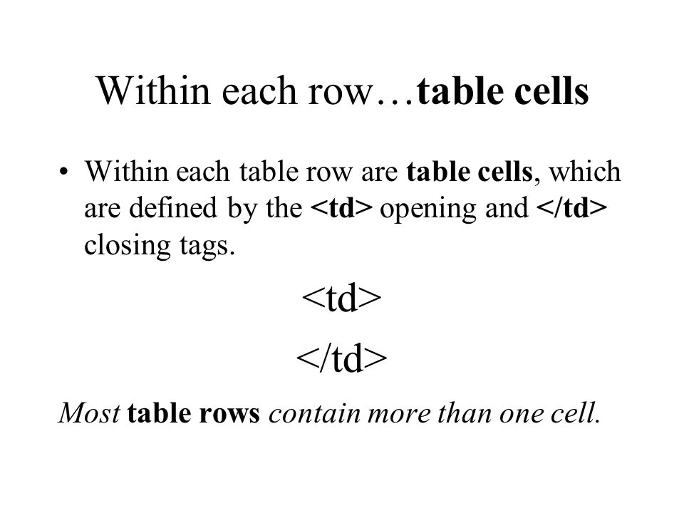 Each Row is defined Each row within the table is defined by the opening tag and the optional closing tag.
