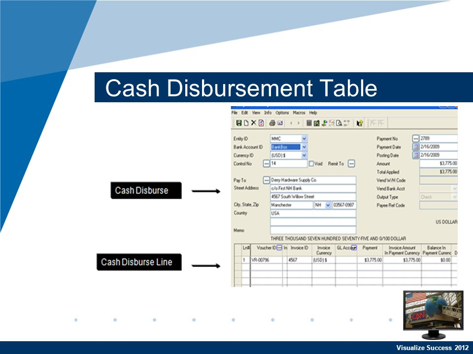 Visualize Success 2012 Cash Disbursement Table