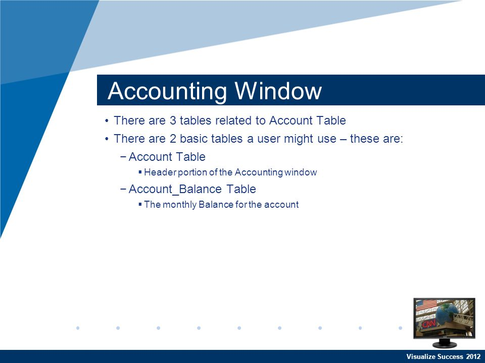 Visualize Success 2012 Accounting Window There are 3 tables related to Account Table There are 2 basic tables a user might use – these are: Account Ta
