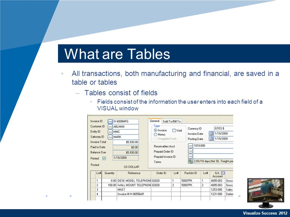 Visualize Success 2012 What are Tables All transactions, both manufacturing and financial, are saved in a table or tables –Tables consist of fields Fields consist of the information the user enters into each field of a VISUAL window