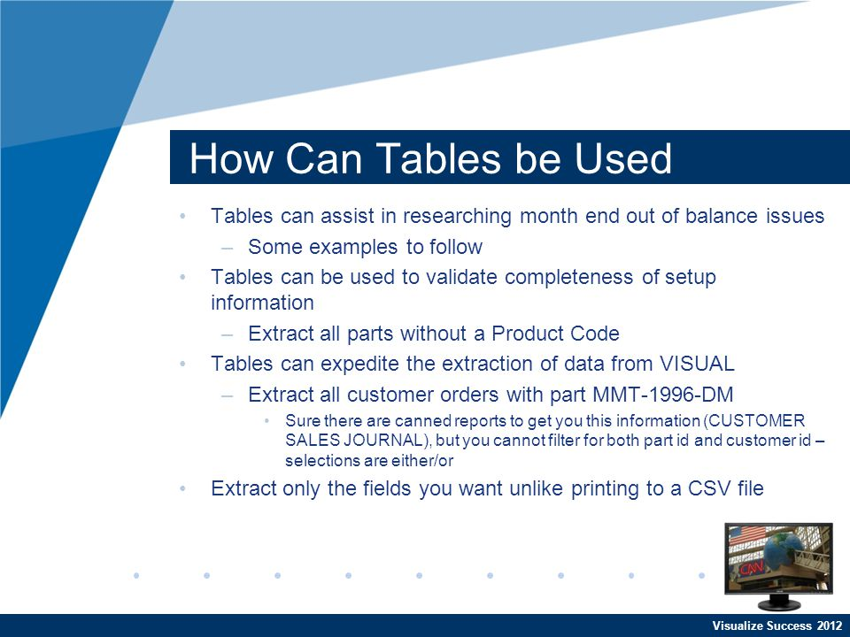 Visualize Success 2012 How Can Tables be Used Tables can assist in researching month end out of balance issues –Some examples to follow Tables can be used to validate completeness of setup information –Extract all parts without a Product Code Tables can expedite the extraction of data from VISUAL –Extract all customer orders with part MMT-1996-DM Sure there are canned reports to get you this information (CUSTOMER SALES JOURNAL), but you cannot filter for both part id and customer id – selections are either/or Extract only the fields you want unlike printing to a CSV file