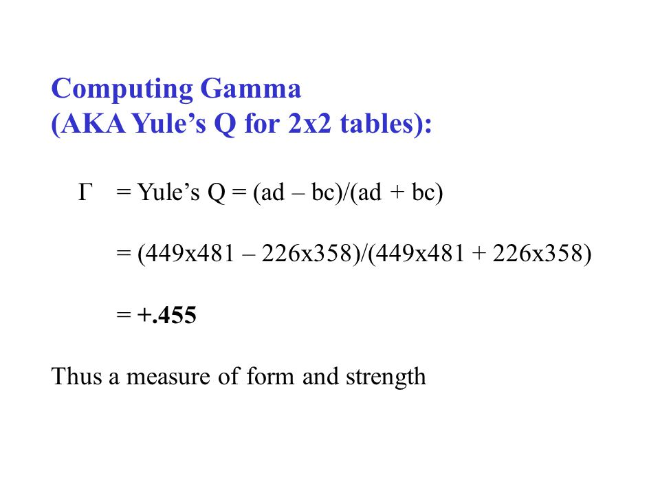 Computing Gamma (AKA Yules Q for 2x2 tables): Γ = Yules Q = (ad – bc)/(ad + bc) = (449x481 – 226x358)/(449x481 + 226x358) = +.455 Thus a measure of form and strength