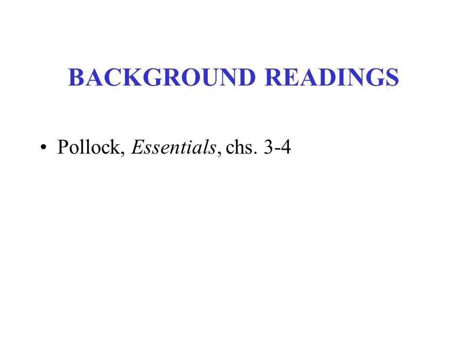 BACKGROUND READINGS Pollock, Essentials, chs. 3-4