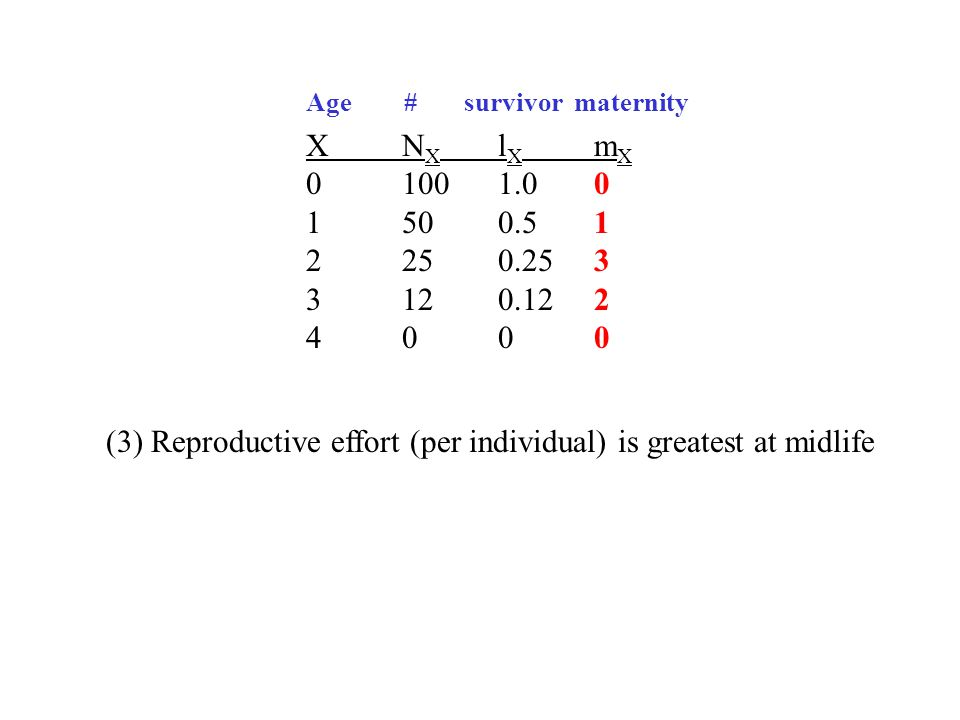 XN X l X m X 01001.00 1500.51 2250.253 3120.122 4000 (3) Reproductive effort (per individual) is greatest at midlife Age # survivor maternity