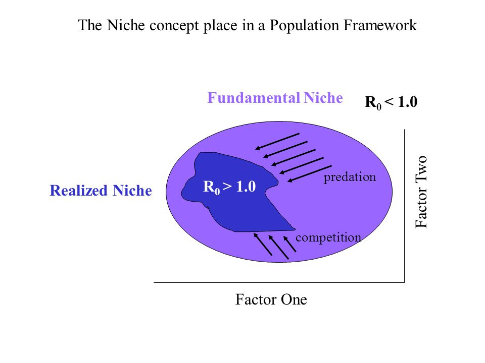 Fundamental Niche Realized Niche R 0 > 1.0 R 0 < 1.0 The Niche concept place in a Population Framework predation competition Factor One Factor Two