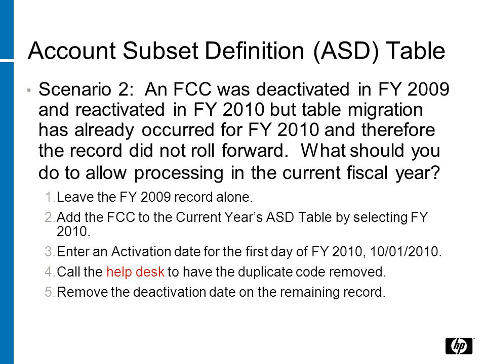 Account Subset Definition (ASD) Table Scenario 2: An FCC was deactivated in FY 2009 and reactivated in FY 2010 but table migration has already occurred for FY 2010 and therefore the record did not roll forward.