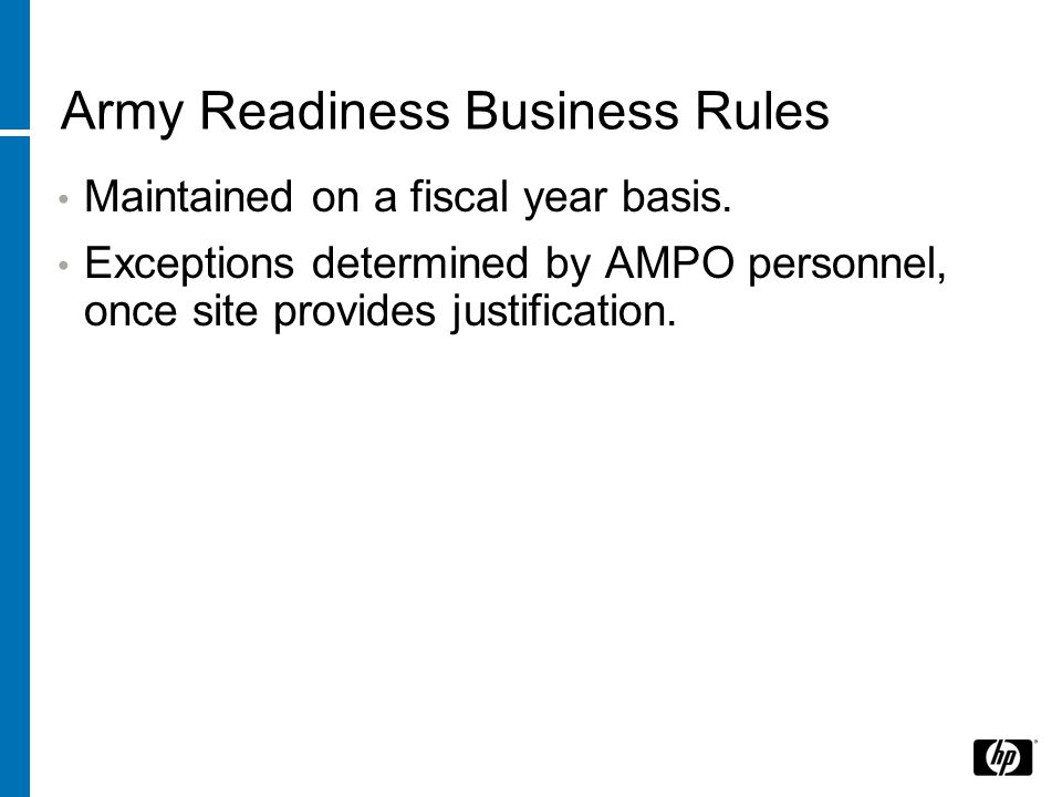 Army Readiness Business Rules Maintained on a fiscal year basis.