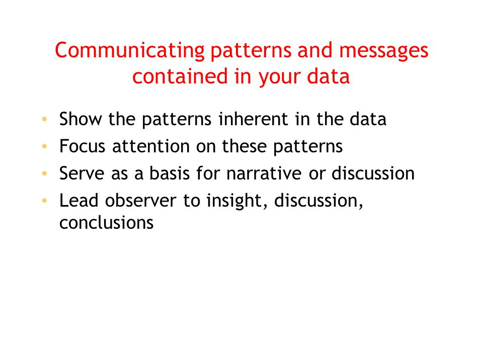 Communicating patterns and messages contained in your data Show the patterns inherent in the data Focus attention on these patterns Serve as a basis f