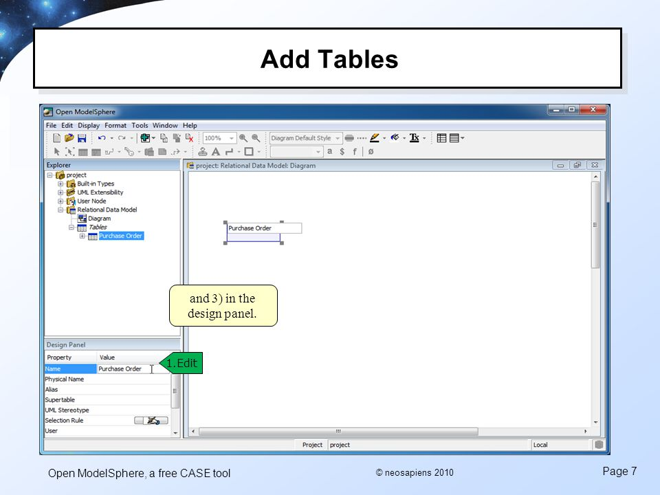 Open ModelSphere, a free CASE tool Page 7 © neosapiens 2010 Add Tables 1.Edit and 3) in the design panel.