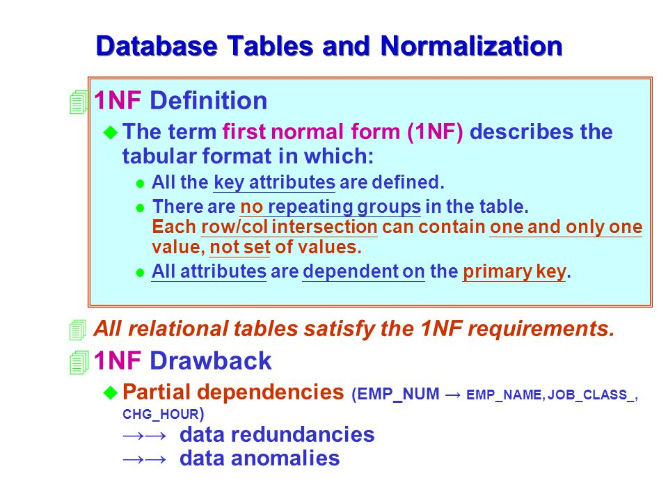 41NF Definition u The term first normal form (1NF) describes the tabular format in which: l All the key attributes are defined.