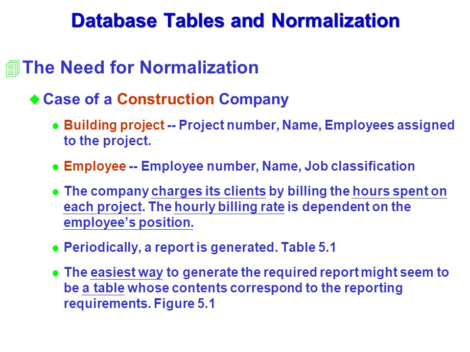Database Tables and Normalization 4The Need for Normalization u Case of a Construction Company l Building project -- Project number, Name, Employees assigned to the project.