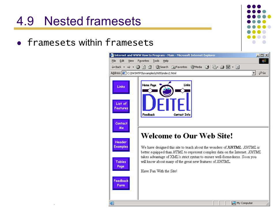 . 28 4.9 Nested framesets frameset s within frameset s