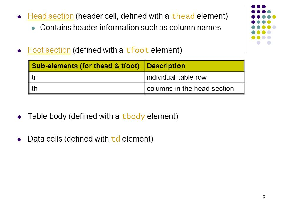 . 5 Head section (header cell, defined with a thead element) Contains header information such as column names Foot section (defined with a tfoot element) Table body (defined with a tbody element) Data cells (defined with td element) Sub-elements (for thead & tfoot)Description trindividual table row thcolumns in the head section