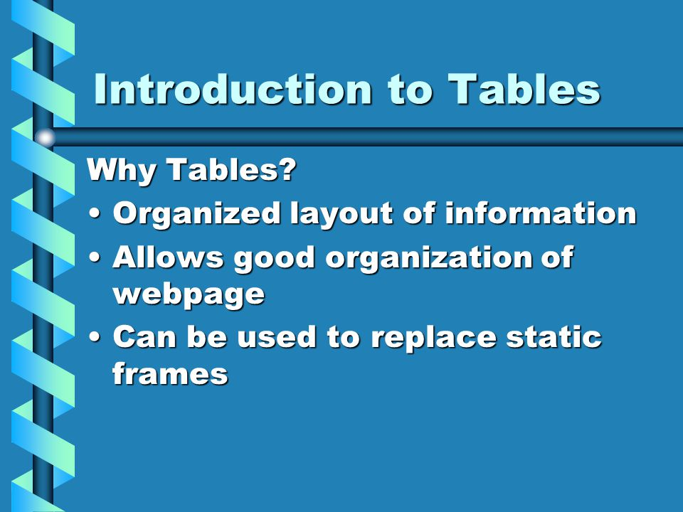 Table Format …
