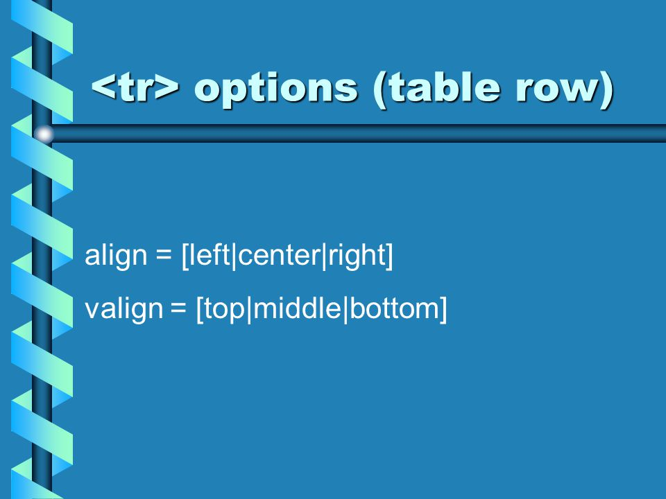 options (table row) options (table row) align = [left|center|right] valign = [top|middle|bottom]