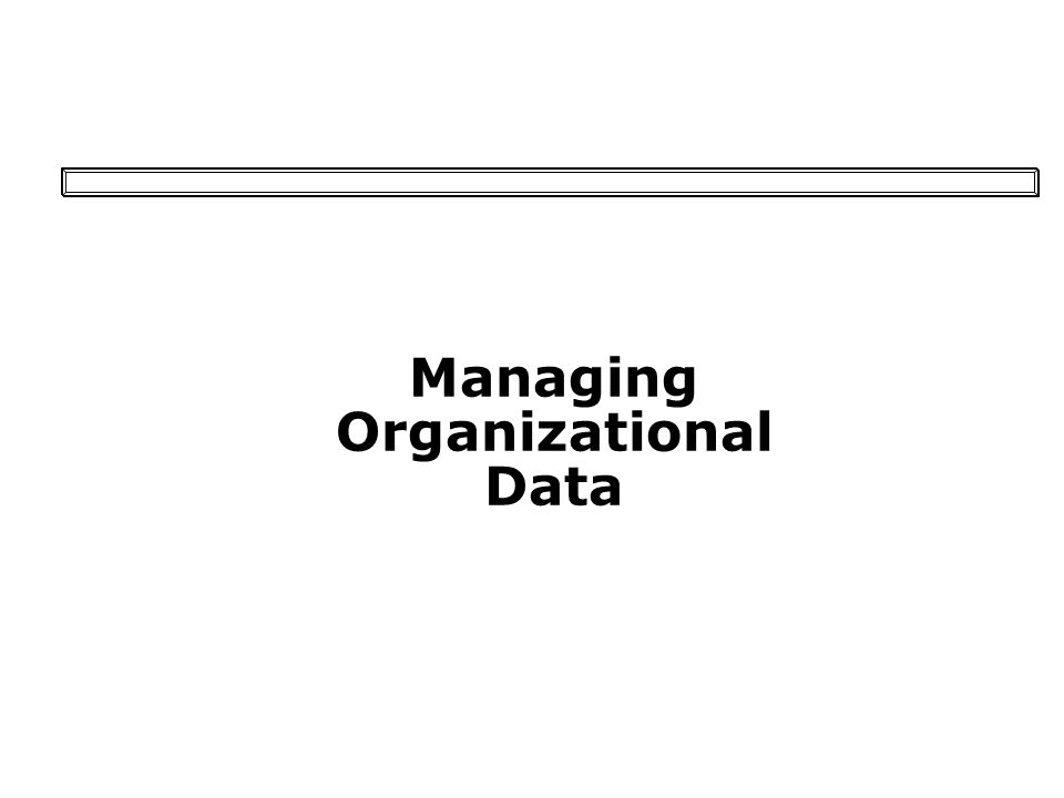 Managing Organizational Data