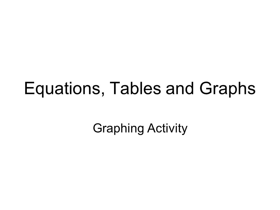 Equations, Tables and Graphs Graphing Activity
