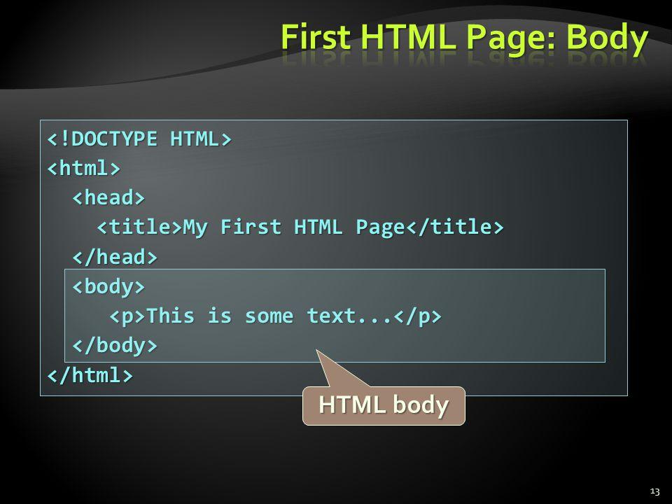 <html> My First HTML Page My First HTML Page This is some text... This is some text... </html> 13 HTML body