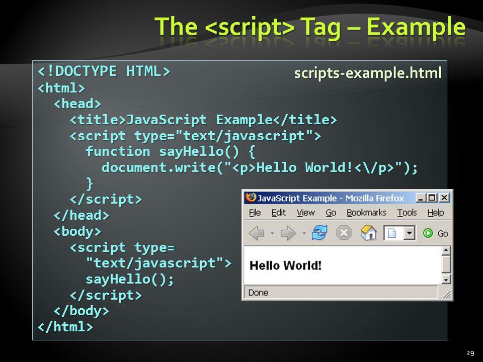 29 <html> JavaScript Example JavaScript Example function sayHello() { function sayHello() { document.write(