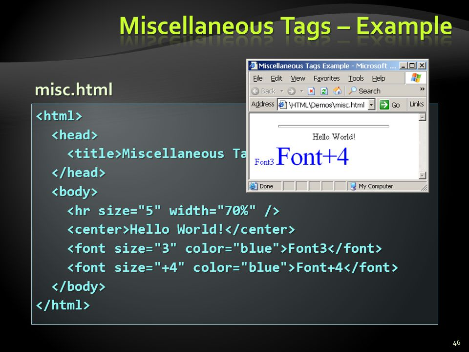 46 <html> Miscellaneous Tags Example Miscellaneous Tags Example Hello World! Hello World! Font3 Font3 Font+4 Font+4 </html> misc.html